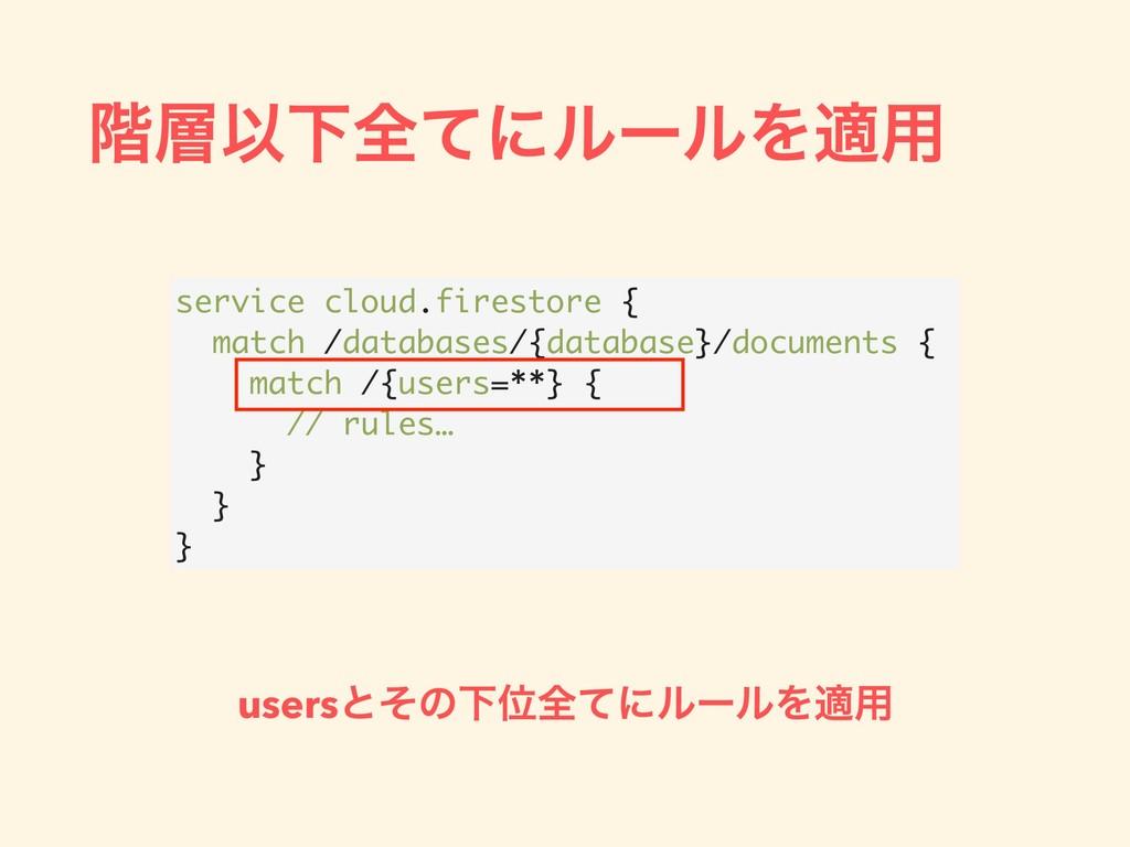 ֊ҎԼશͯʹϧʔϧΛద༻ service cloud.firestore { match /...