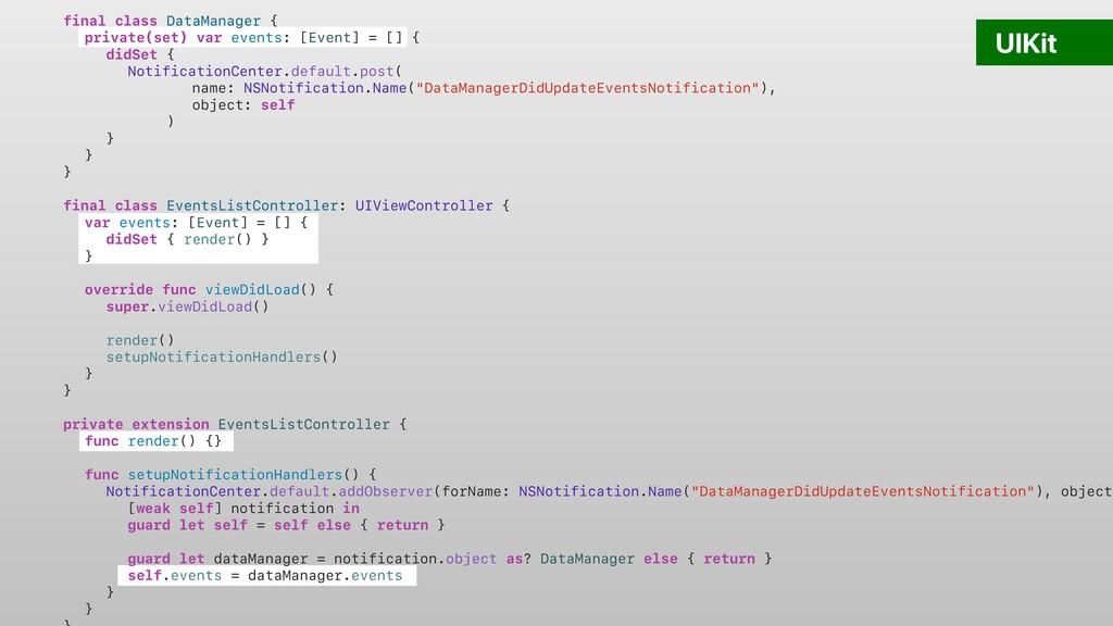 final class DataManager { private(set) var even...