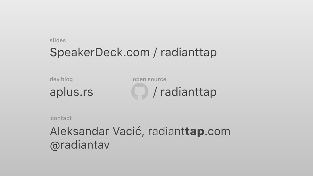 SpeakerDeck.com / radianttap aplus.rs Aleksanda...