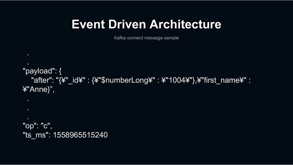 Event Driven Architecture Kafka connect message...