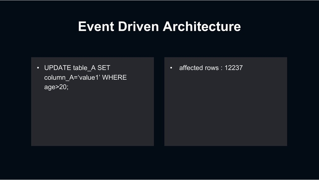 Event Driven Architecture • UPDATE table_A SET ...