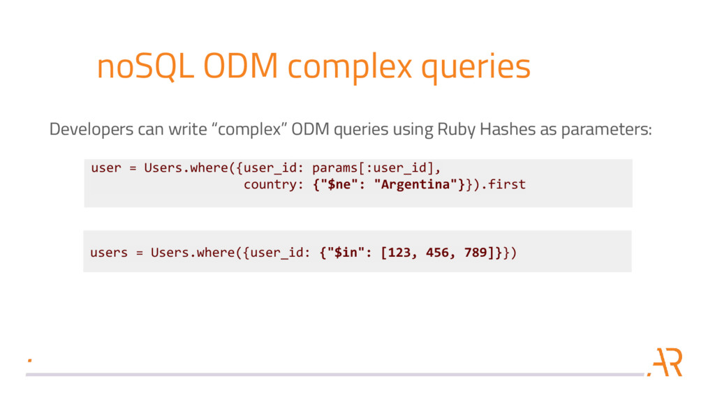 noSQL ODM complex queries Developers can write ...