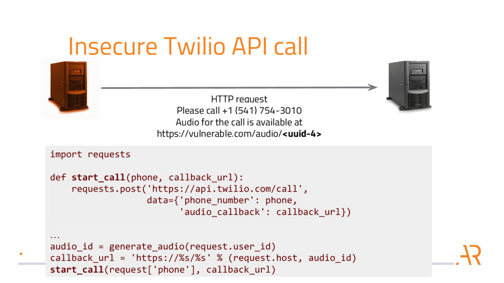 Insecure Twilio API call HTTP request Please ca...