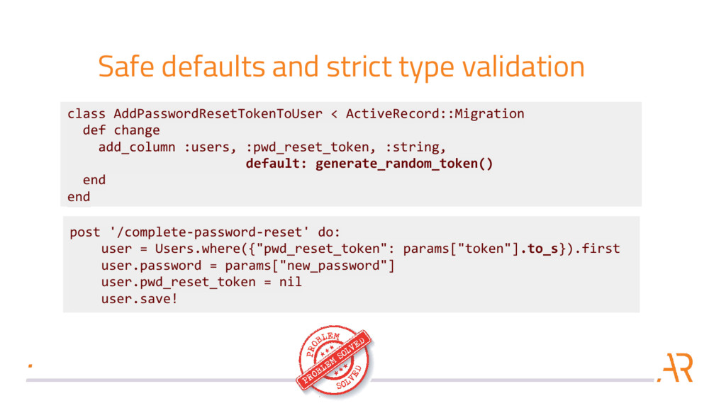 Safe defaults and strict type validation post '...