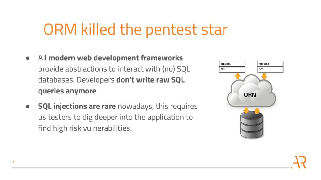 ORM killed the pentest star ● All modern web de...