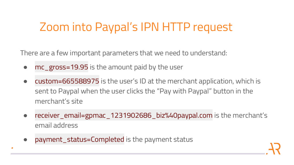 Zoom into Paypal's IPN HTTP request There are a...