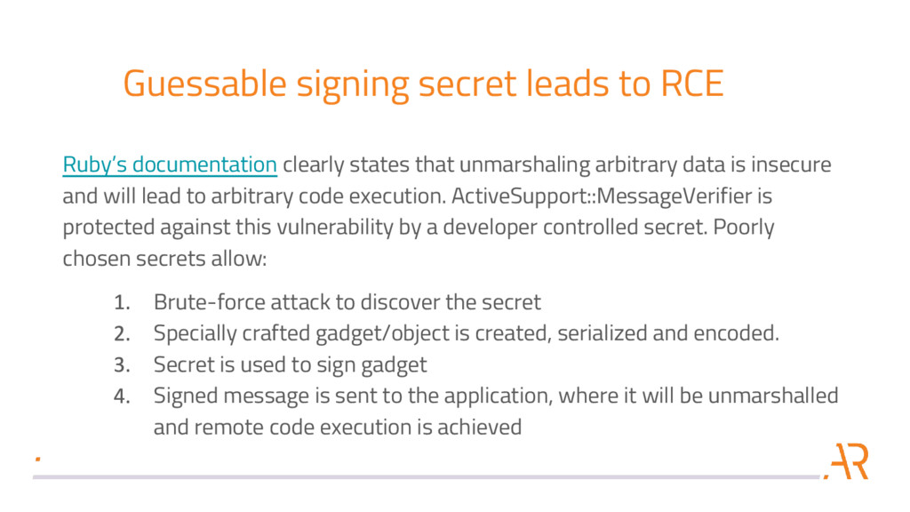 Guessable signing secret leads to RCE Ruby's do...