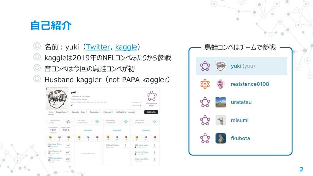 自己紹介 2 ◎ 名前:yuki(Twitter, kaggle) ◎ kaggleは2019...