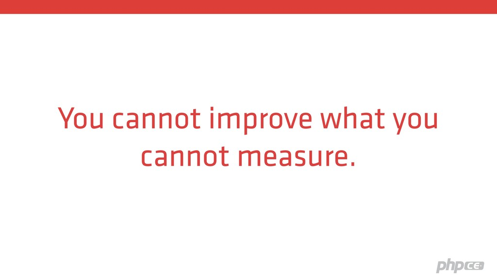 You cannot improve what you cannot measure.