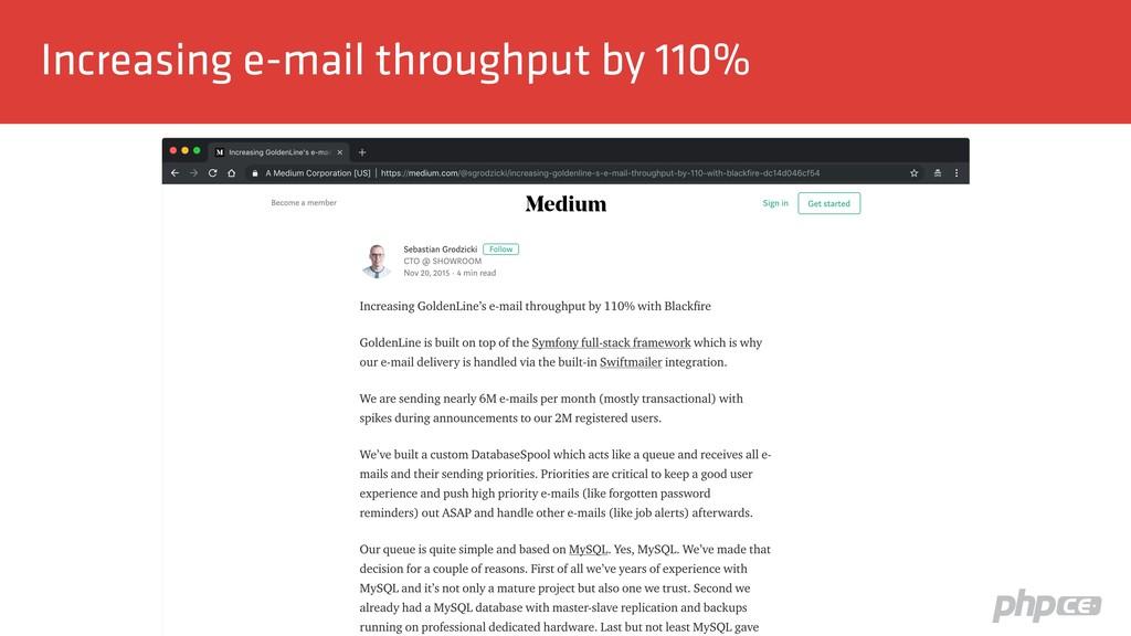 Increasing e-mail throughput by 110%