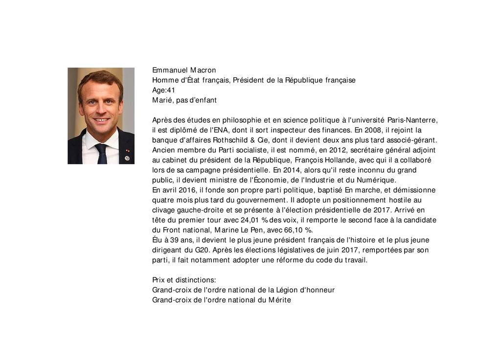 Emmanuel Macron Homme d'État français, Présiden...