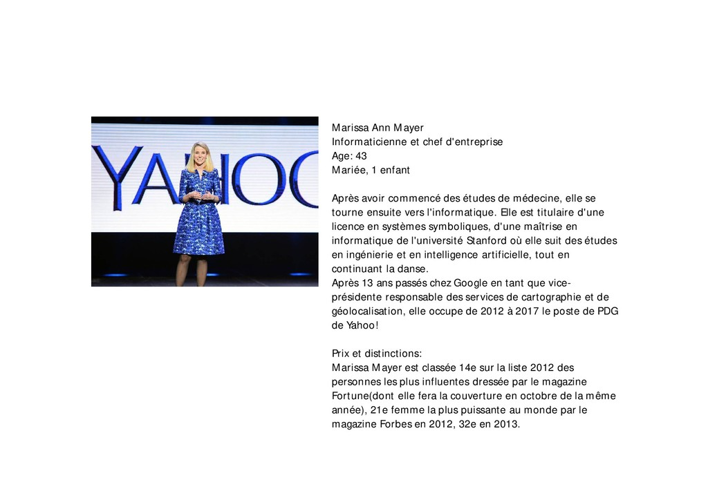 Marissa Ann Mayer Informaticienne et chef d'ent...
