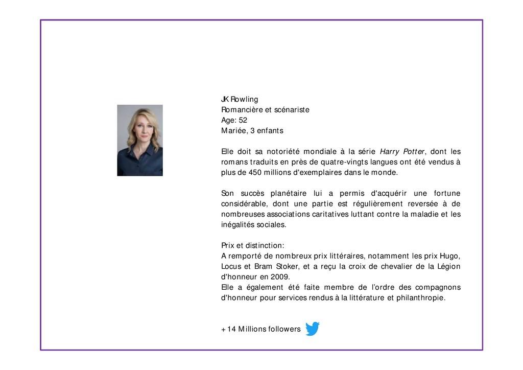 JK Rowling Romancière et scénariste Age: 52 Mar...