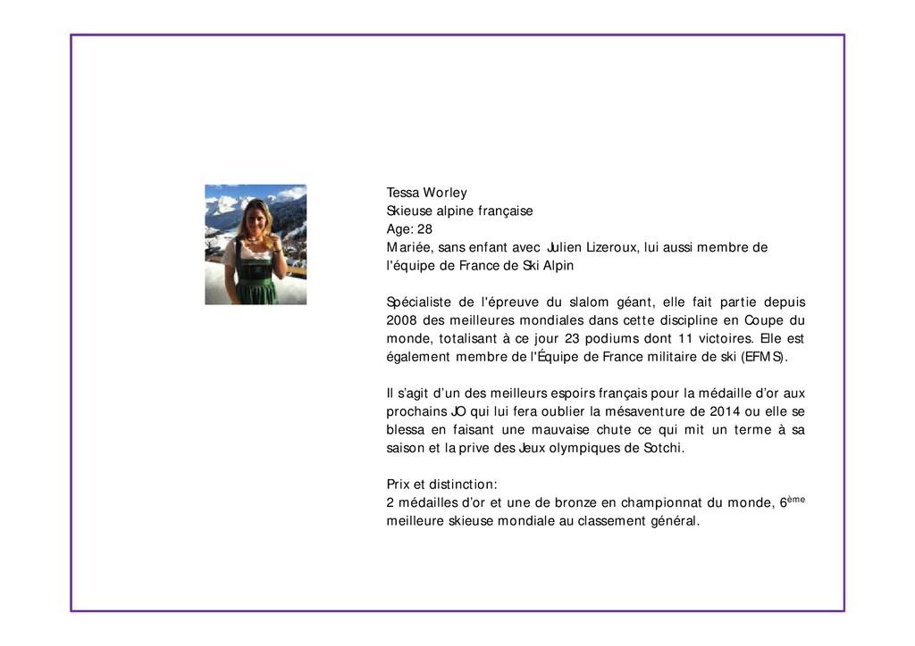 Tessa Worley Skieuse alpine française Age: 28 M...