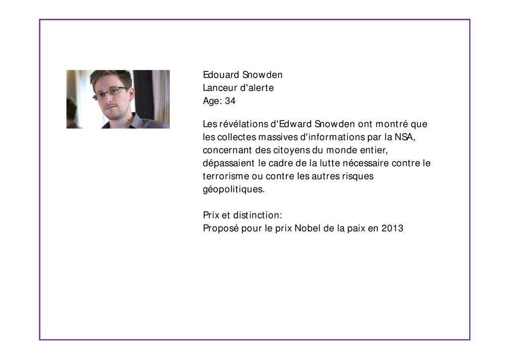 Edouard Snowden Lanceur d'alerte Age: 34 Les ré...