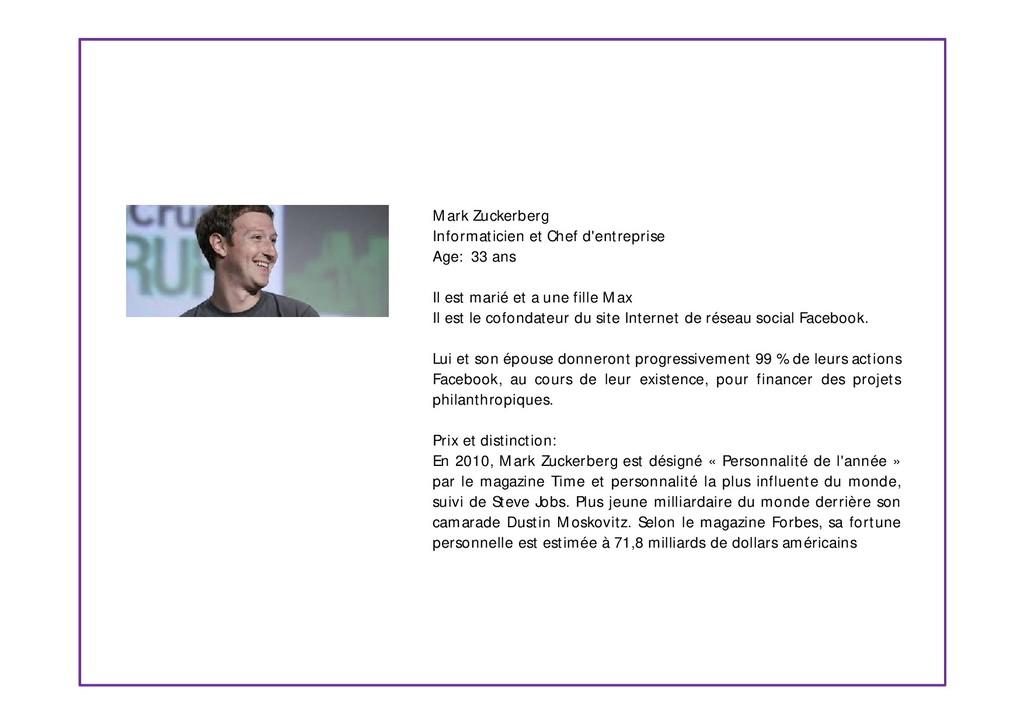 Mark Zuckerberg Informaticien et Chef d'entrepr...