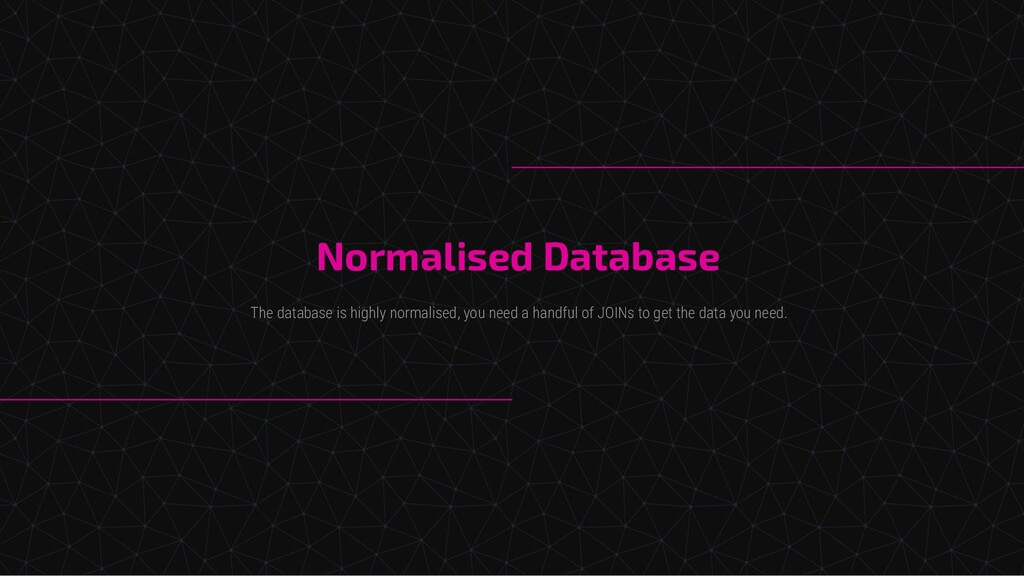 Normalised Database The database is highly norm...
