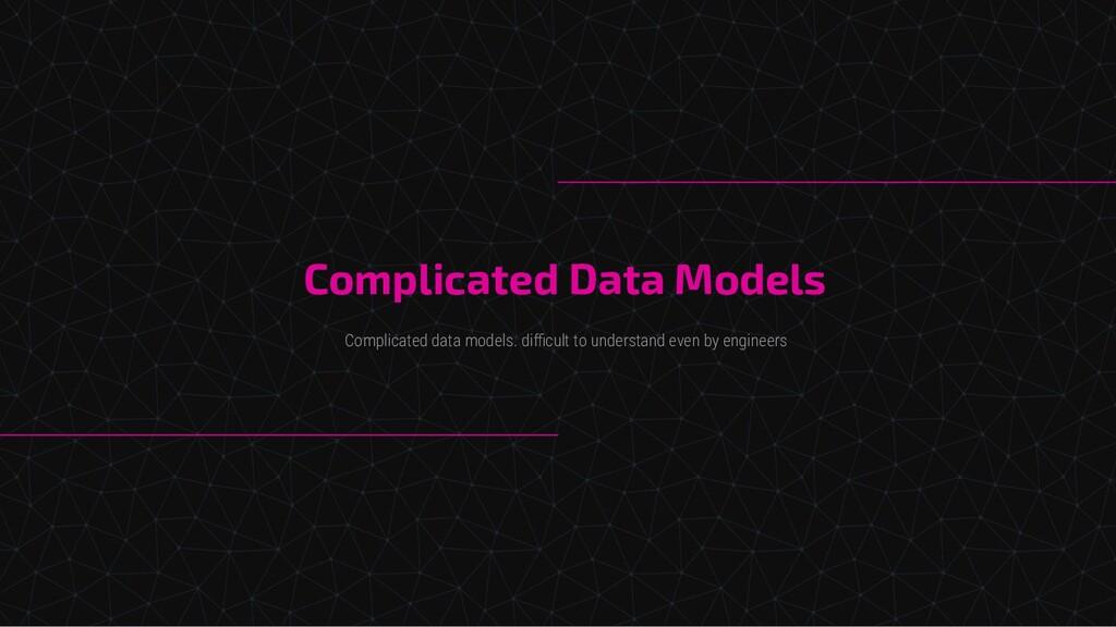 Complicated Data Models Complicated data models...