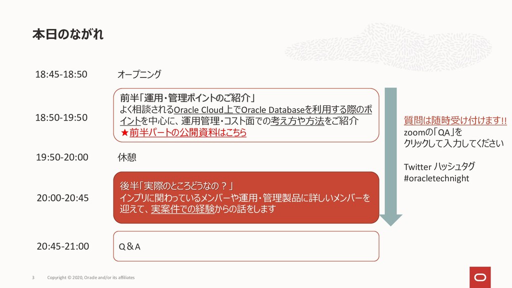 本日のながれ Copyright © 2020, Oracle and/or its affi...