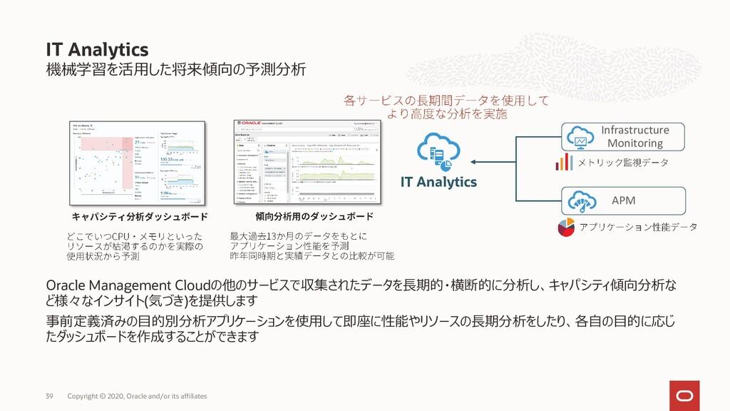 機械学習を活用した将来傾向の予測分析 Oracle Management Cloudの他のサー...