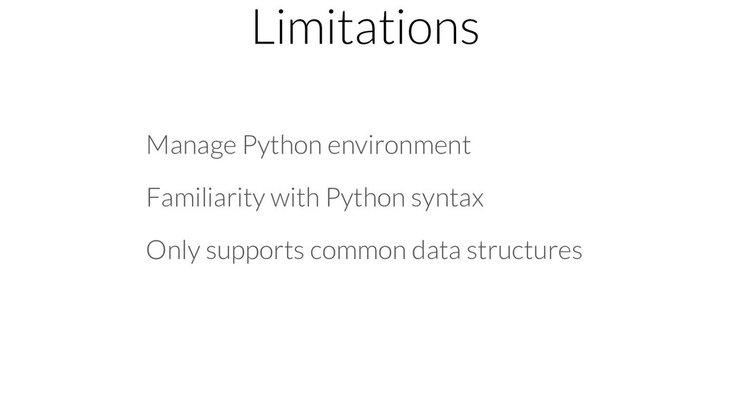 Limitations Manage Python environment Familiari...