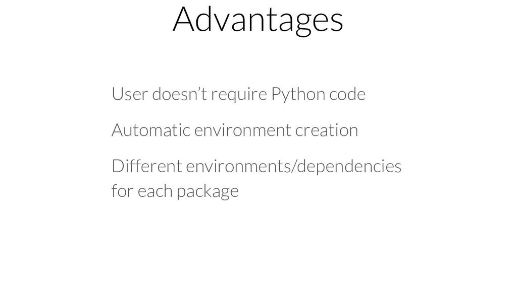 Advantages User doesn't require Python code Aut...