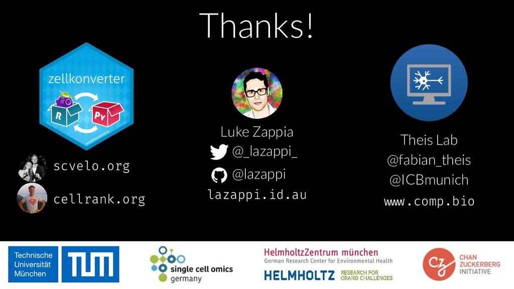 Thanks! Luke Zappia @_lazappi_ @lazappi lazappi...