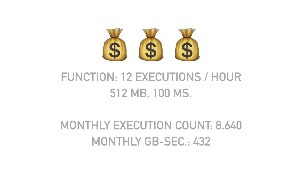 """"""""""""""" FUNCTION: 12 EXECUTIONS / HOUR 512 MB, 100 ..."""