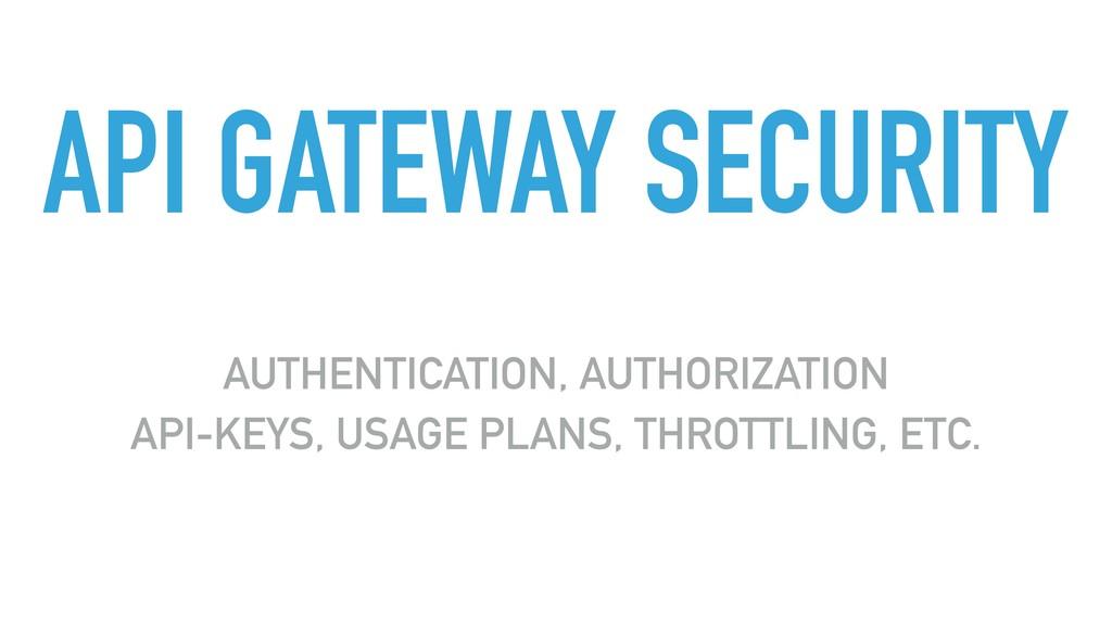 API GATEWAY SECURITY AUTHENTICATION, AUTHORIZAT...