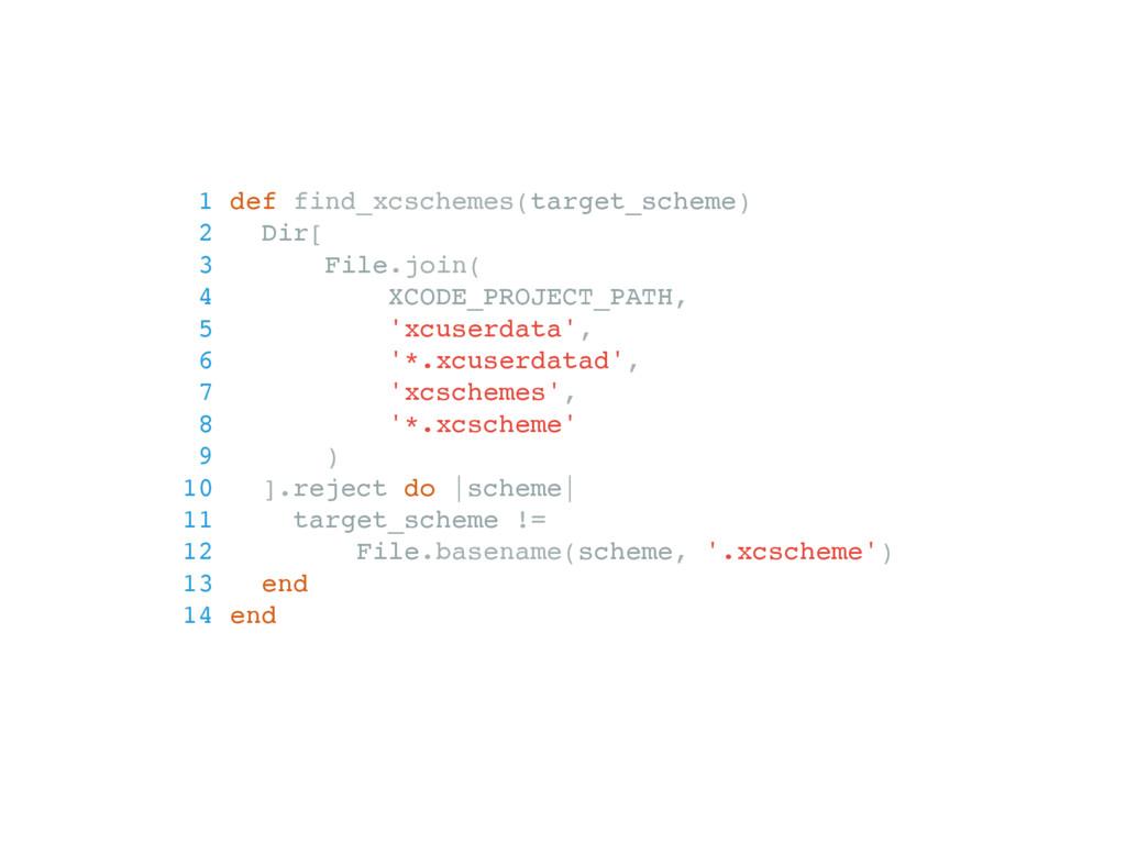 1 def find_xcschemes(target_scheme) 2 Dir[ 3 Fi...