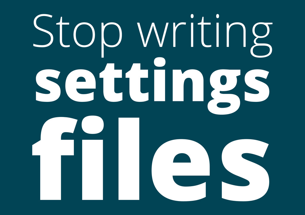 Stop writing settings files