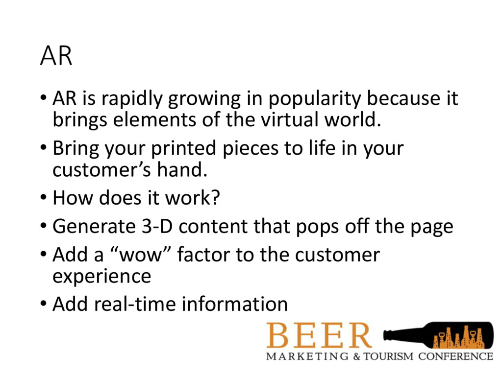 AR • AR is rapidly growing in popularity becaus...