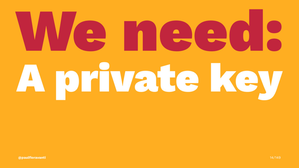 We need: A private key @paulfioravanti 14/149