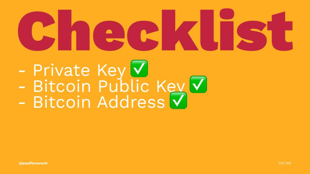 Checklist - Private Key ✅ - Bitcoin Public Key ...