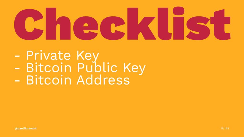 Checklist - Private Key - Bitcoin Public Key - ...