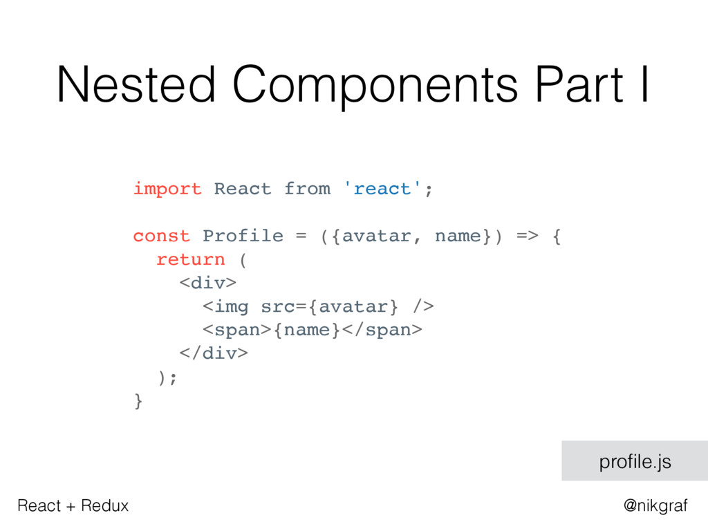 React + Redux @nikgraf Nested Components Part I...