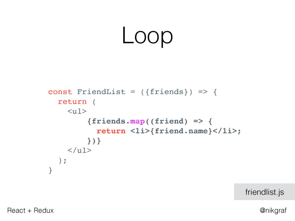 React + Redux @nikgraf Loop const FriendList = ...