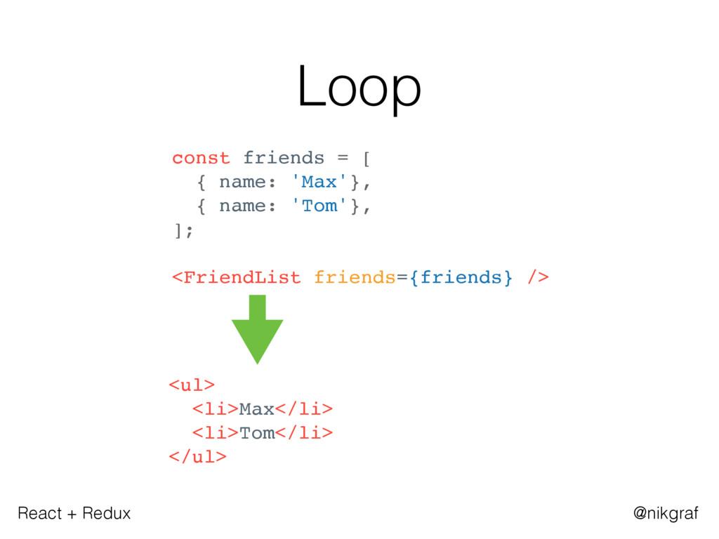 React + Redux @nikgraf Loop const friends = [ {...