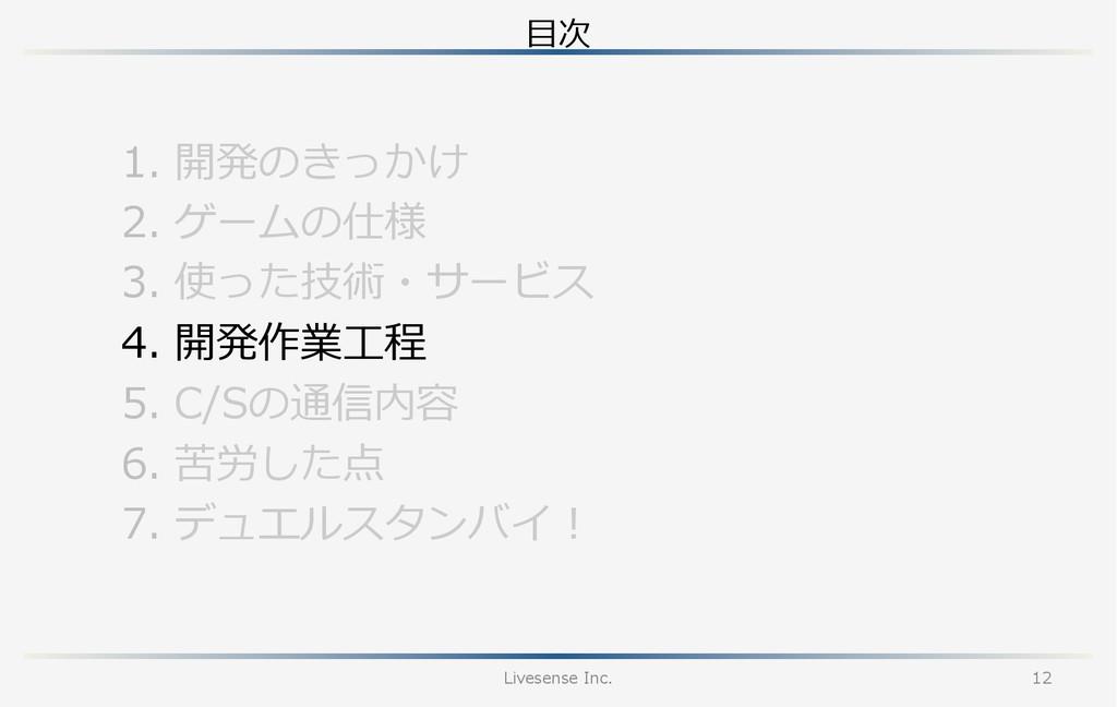 ⽬目次 Livesense Inc. 12 1. 開発のきっかけ 2. ゲームの仕様 3...