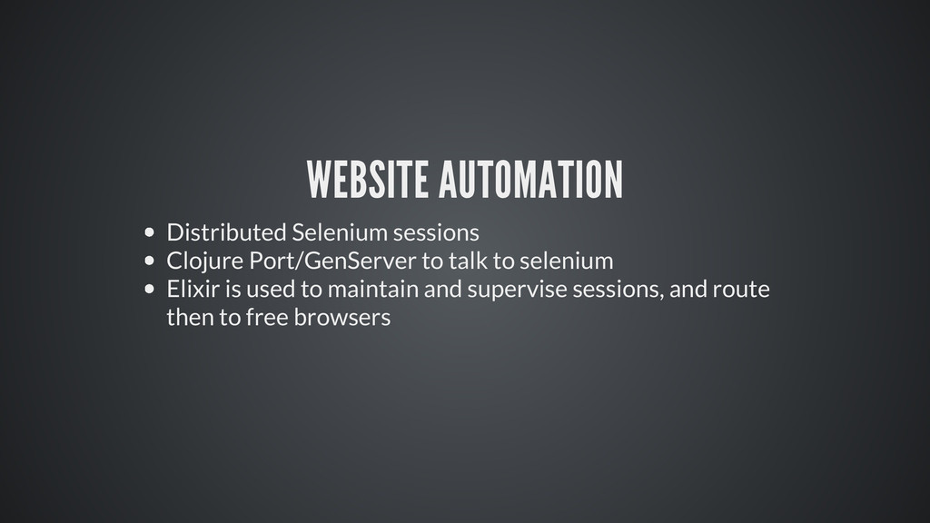 WEBSITE AUTOMATION Distributed Selenium session...