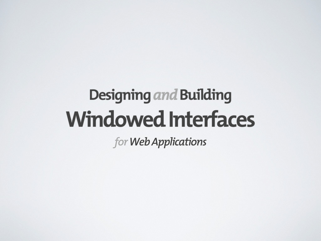 for Web Applications
