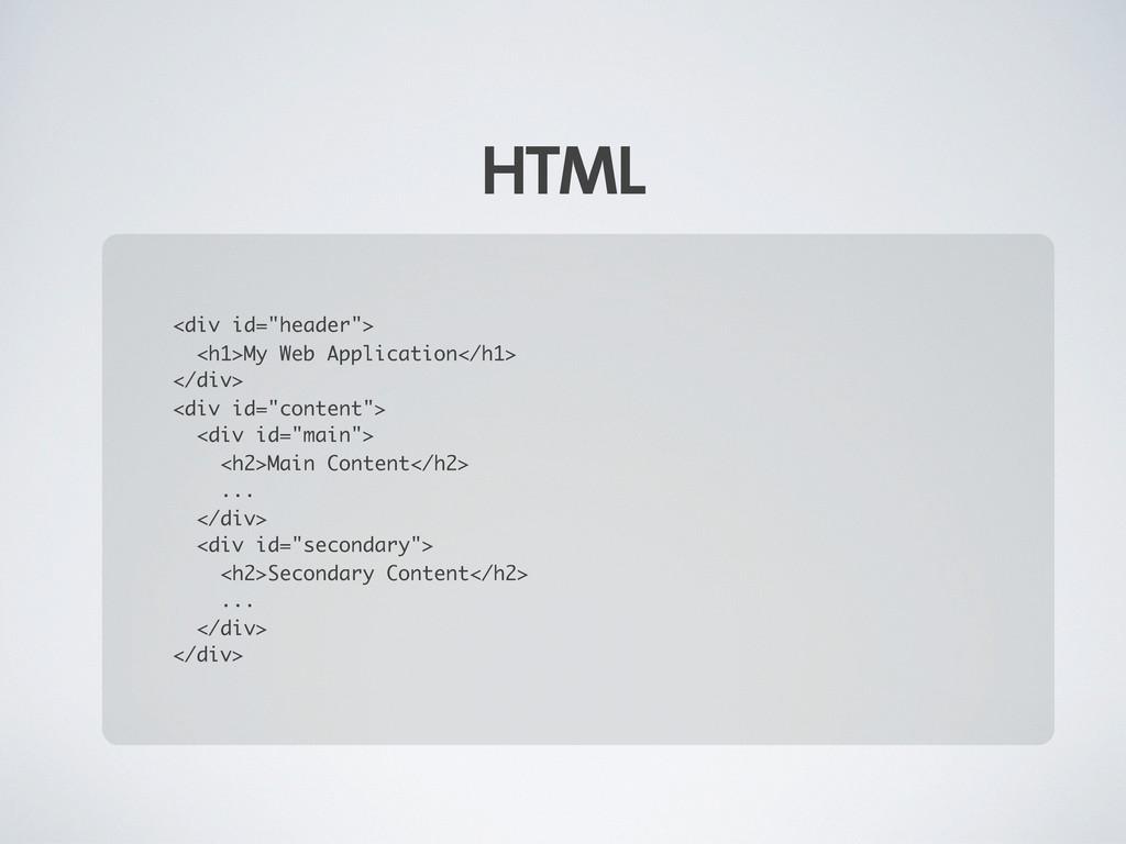 "HTML <div id=""header""> <h1>My Web Application</..."