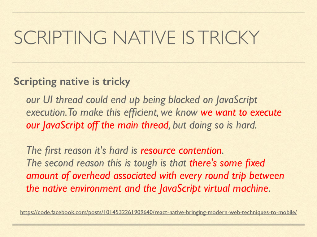 SCRIPTING NATIVE IS TRICKY our UI thread could ...
