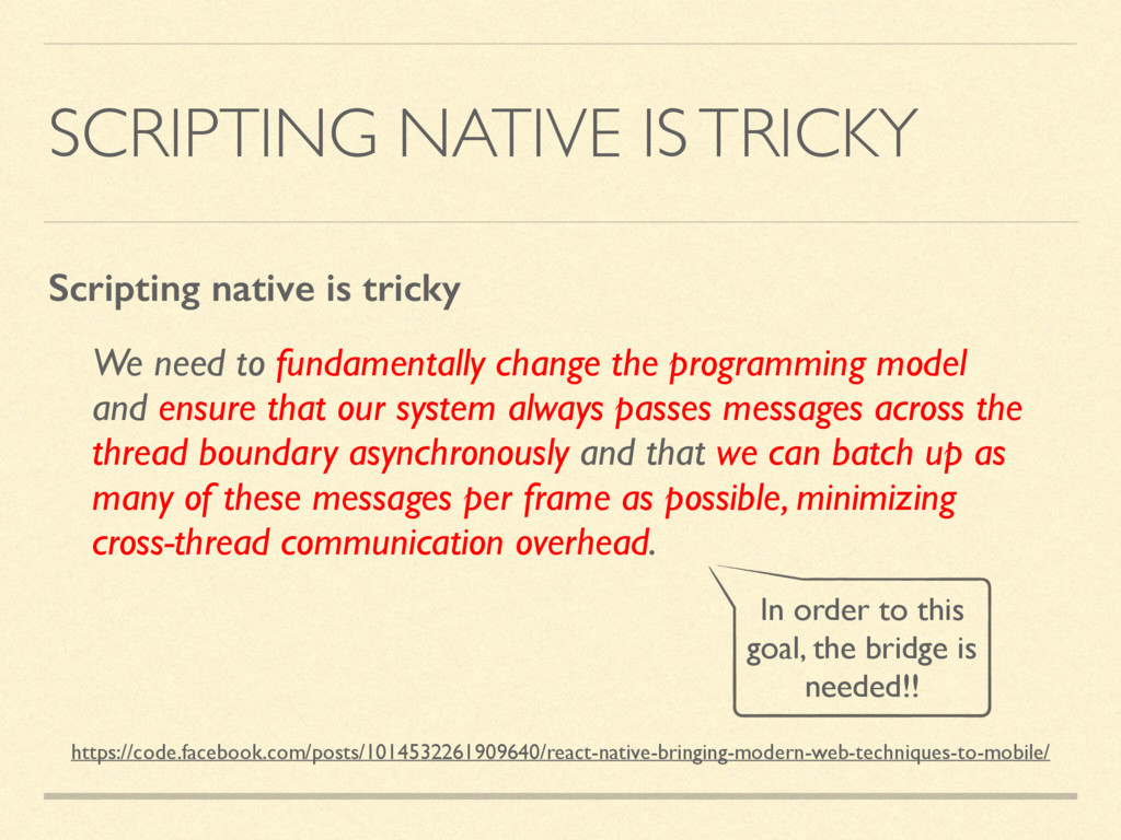 SCRIPTING NATIVE IS TRICKY We need to fundament...