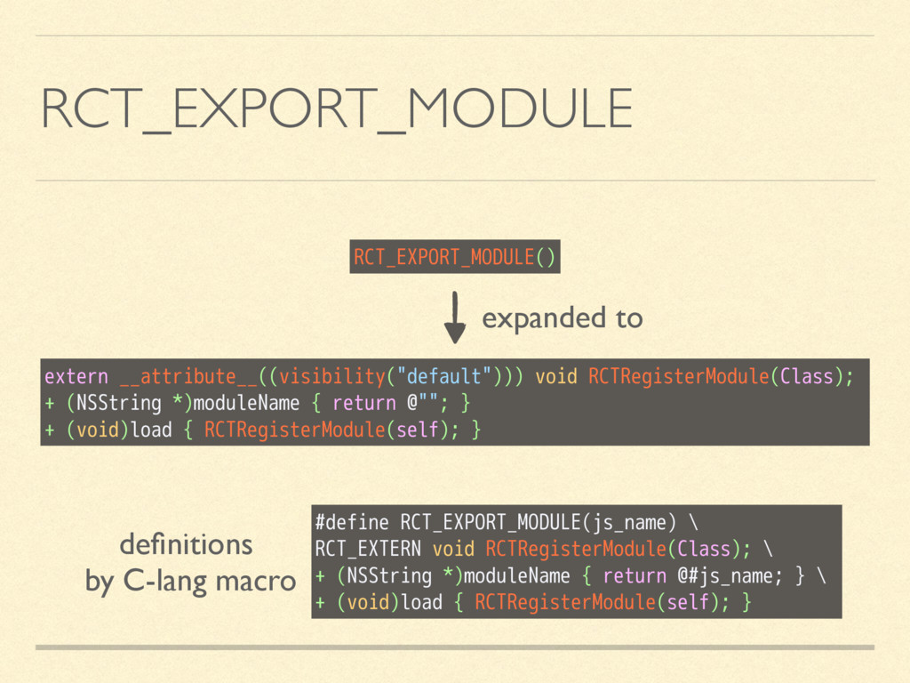 RCT_EXPORT_MODULE RCT_EXPORT_MODULE() expanded ...