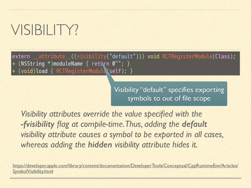 VISIBILITY? https://developer.apple.com/library...