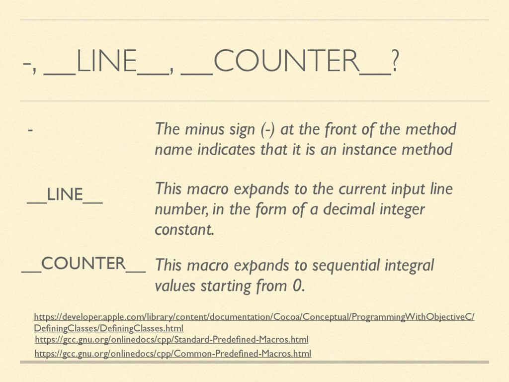 -, __LINE__, __COUNTER__? https://gcc.gnu.org/o...