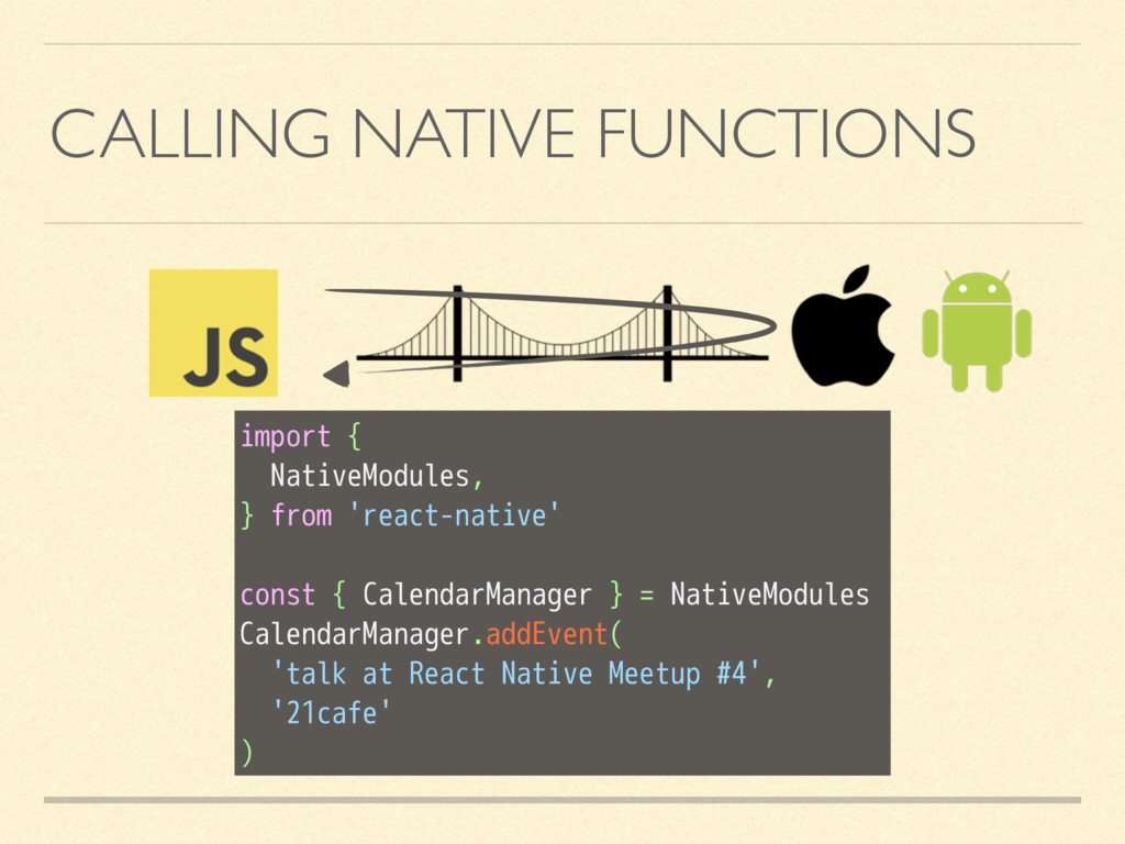 CALLING NATIVE FUNCTIONS import { NativeModules...