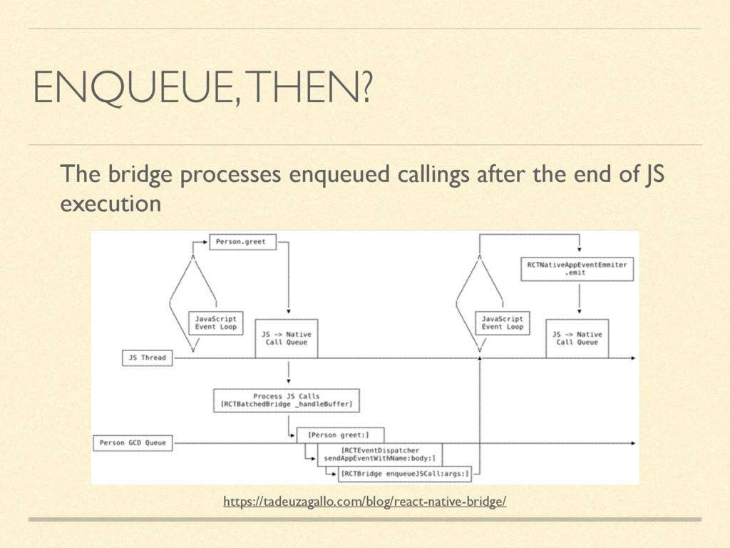 ENQUEUE, THEN? The bridge processes enqueued ca...